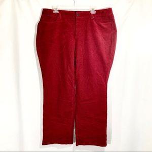 New TALBOTS Curvy Red Boot Cut Corduroy Pants 18WP